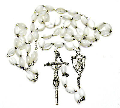 Antique Mother-Of-Pearl Rosary Crucifix Cross Necklace