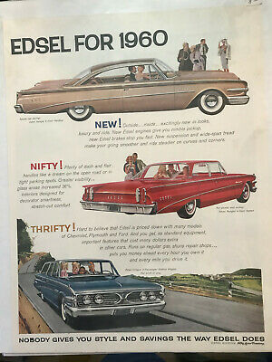 1960 Vintage Magazine Ad for Edsel in plastic cover, excellent condition