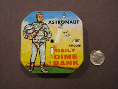 Astronaut Daily Dime Bank - Vintage Coin Bank!  (Dimes Included!)