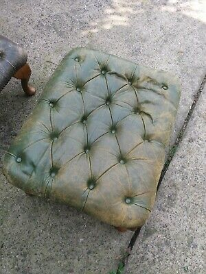 Vintage Leather Footstool for Restoration x 2