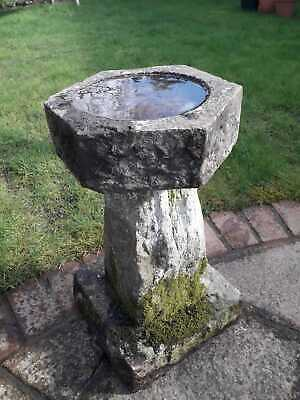 Antique Hand Carved Weathered  Stone Bird Bath