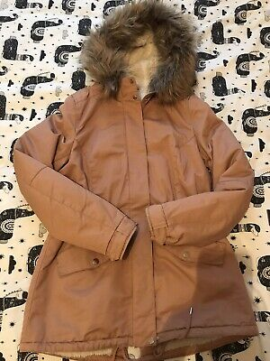 Womens Size UK 10 Pink Parka H&M Coat Jacket Faux Fur Fluffy Hood