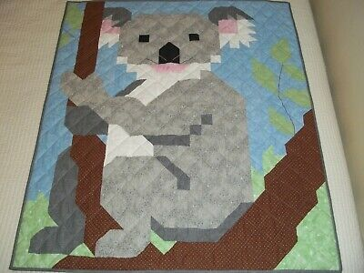 New Handmade Baby Girl Boy Quilt Crib Blanket Koala Bear Grey Blue Patchwork