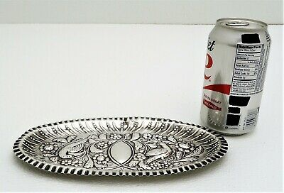 Irish Sterling Silver Chased Serving Tray Figural Love Bird Motif Marked Dublin