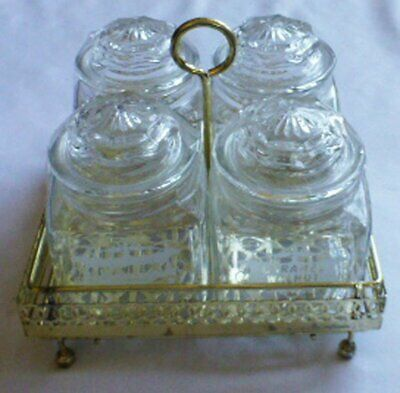 Vtg  Condiment jam Jelly Sundae Topping CADDY w/4 APOTHECARY JARS & METAL HOLDER
