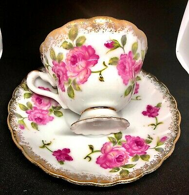 Tea Cup & Saucer China Pink Roses Free Shipping