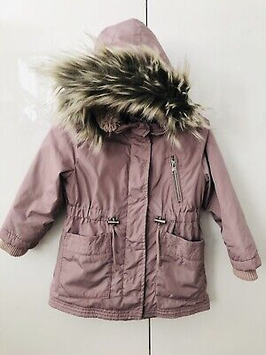Next Age 3 Dusty Pink/purple Parka Fur Trim Hooded Coat Jacket Fab Condition!
