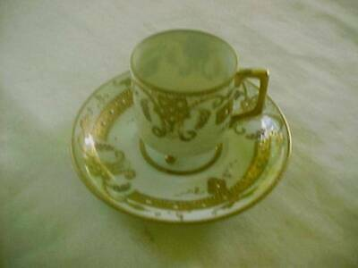 Vintage Footed Demitasse Cup Saucer Raised Gold Beaded Design