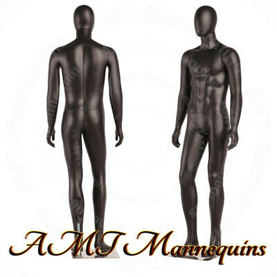 MALE FULL BODY, BLACK HIGH END MANNEQUINS+Metal stand, REMOVABLE EGG HEAD