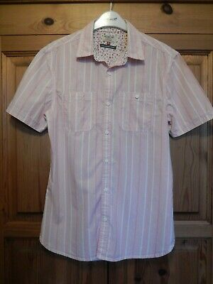 Next Pink Striped Short Sleeve Casual Shirt - Size Small