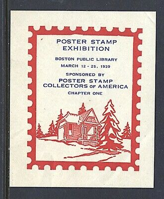 Philatelic Labels Poster Stamp Collectore of America 1939 Boston Red