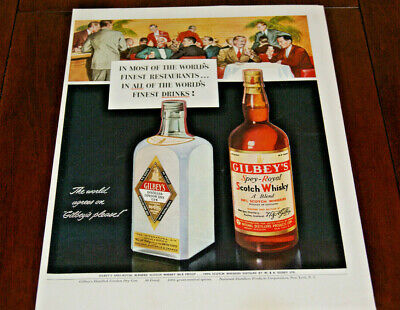 Print AD 1950 Sales Advertisement Art Poster Gilbey's Gin Whiskey Whisky 10x13