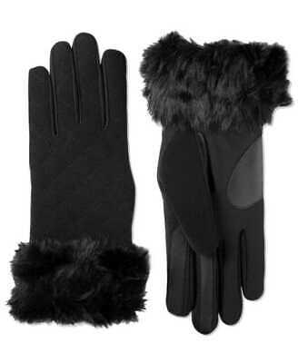 Isotoner Signature Women's Touchscreen Boiled Wool & Spandex Gloves L/XL Black