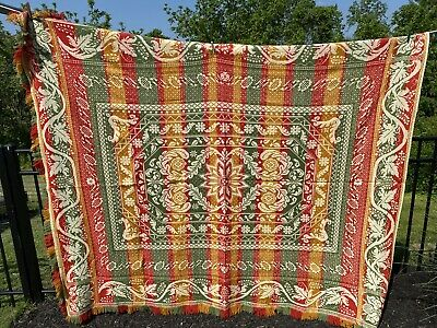 Jacquard Coverlet with 4 colors Beautiful Vibrant Wool Coverlet