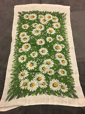 Vintage Linen Tea Towel Sun Flowers Handpainted By Kay Dee