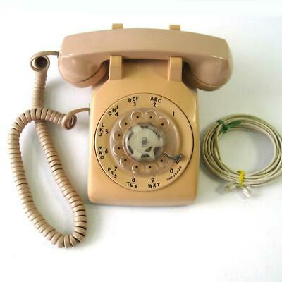 Vintage AT&T Rotary Dial Desk Telephone Beige Phone