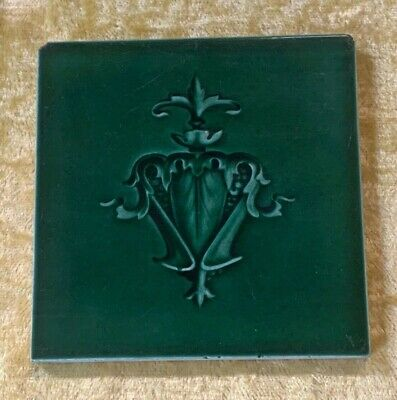 Antique Original England Tile Washstand Fireplace Kitchen Art Nouveau Green