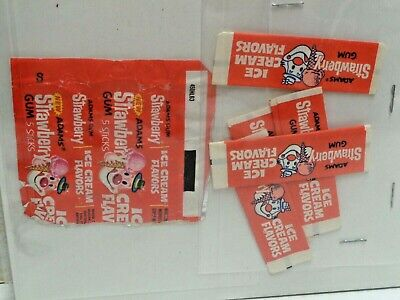 adams gum ICE CREAM GUM STRAWBERRY 1973 wrappers and package USED
