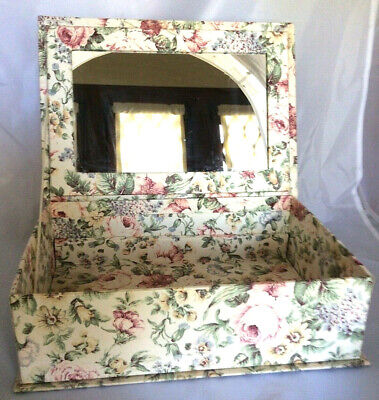 Jewelry box mirror floral fabric covered 12x9x4 nice shabby chic vintage
