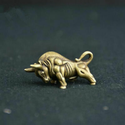 Chinese old antique collection pure brass Wall Street bull small statue