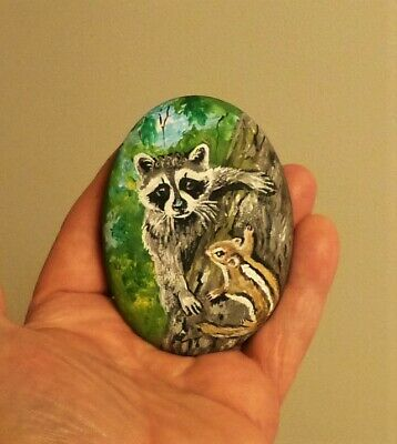 Original Hand Painting Baby Raccoon And Chipmunk On River Rock