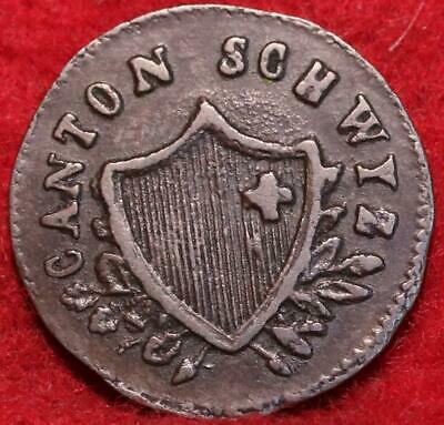 1845 Swiss Canton 2 Rappen Foreign Coin