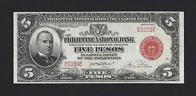 PHILIPPINES 5 Pesos 1937, P-57 Philippine National Bank Low S/N E6039E, EF Grade