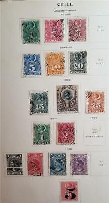 CHILE 1878-1900 Album Page Used Stamp Lot T129