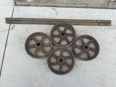 Set Of 4 Vintage 5 Inch Cast Iron Wheels With Axels Hit Miss Cart Platform Scale
