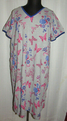 Dreams & Co butterfly print knee length nightgown,side pockets, Plus size 26/28
