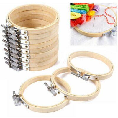 10pcs Embroidery Circle Bamboo Cross Hoop Ring Support Aid Hand Crafts UK Hot