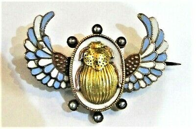 Gorgeous Antique Egyptian Revival Gold Enamel Pearl Winged Scarab Brooch 1880