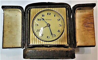 Fine Antique Zenith Travel Alarm Clock Original Leather Case Works French Made
