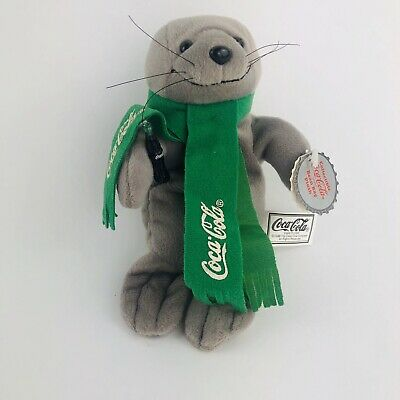 Vintage Coca-Cola Seal In Green Scarf Bean Bag Plush 1998 Collectible