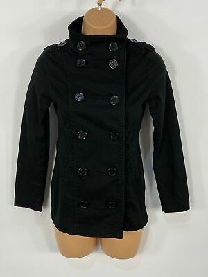 Girls H&M Black Double Breasted Button Up Smart Casual Coat Jacket Kids 10-11Yrs