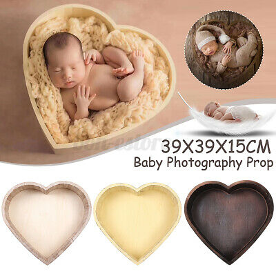 Wooden Heart Photography Prop Cot Baby Photo Bed Newborn Photographic Box Case
