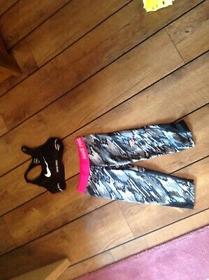 Girls Nike Pro Cropped Leggings With Nike Pro Cropped Top Age 8-10