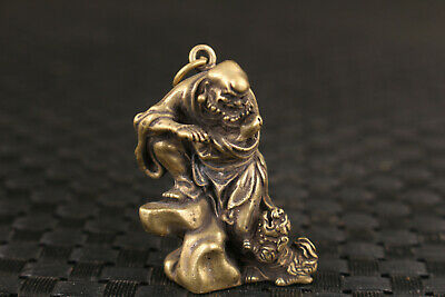 chinese bronze Hand painted arhat statue netsuke collectable gift