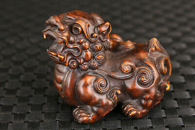 chinese boxwood hand carved kirin figure statue netsuke table decoration