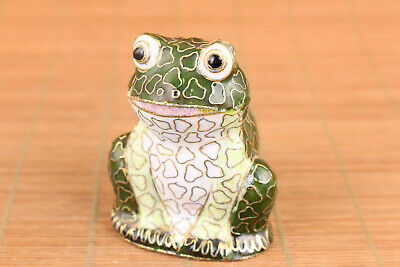 Lovely china cloisonne Hand painted frog statue collectable good seat home deco