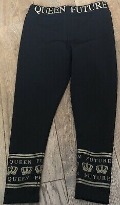 Girls River Island Future Queen Leggings In Black & Gold Age 4-5 Years