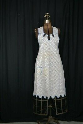 antique apron long full bib cover up cotton calico depression WWII early 1900