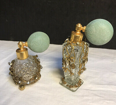 Vintage 2 Irice, Jewels Ormolu Perfume Bottles Atomizers Glass New York