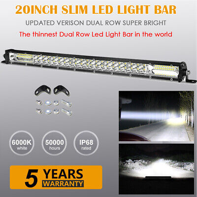 20inch Led Work Light Bar Dual Row Spot Flood Combo Off road Driving ATV Trucks