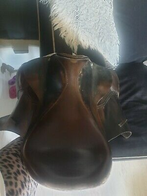 Brown leather saddle equestrian