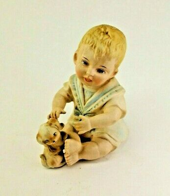 Antique or Vintage Piano Baby Statue Figure Bisque Boy Sitting with Puppy