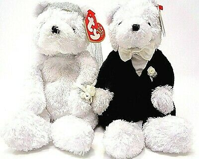 Ty Beanie Babies ~ BRIDE & GROOM Wedding Bears (8 inch) Plush Toys~MWMTs~Retired