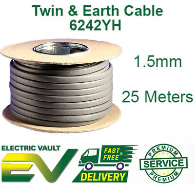 SHARC ELECTRICAL 2.5mm Twin and Earth 6242Y Flat Grey Electric Cable 9m 2.5mm diameter available in various lengths