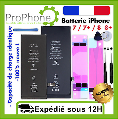BATTERIE INTERNE iPhone 7 / 7+ / 8 / 8+ 100% Neuve + Sticker + kit outils  ✅⭐