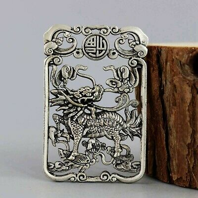 Collectable China Miao Silver Hand-Carved Myth Kylin Asian Pendant Oriental Gift